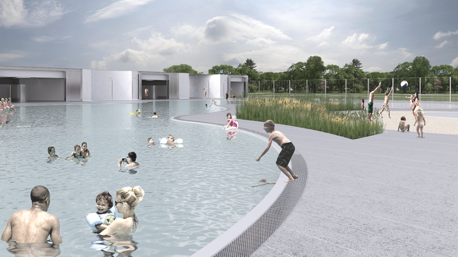 The new pool reuses two existing 1950s structures, creating a harmonious Modernist composition.