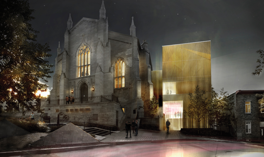 A luminous addition is a boldly elegant contrast to the gothic revival wesley temple