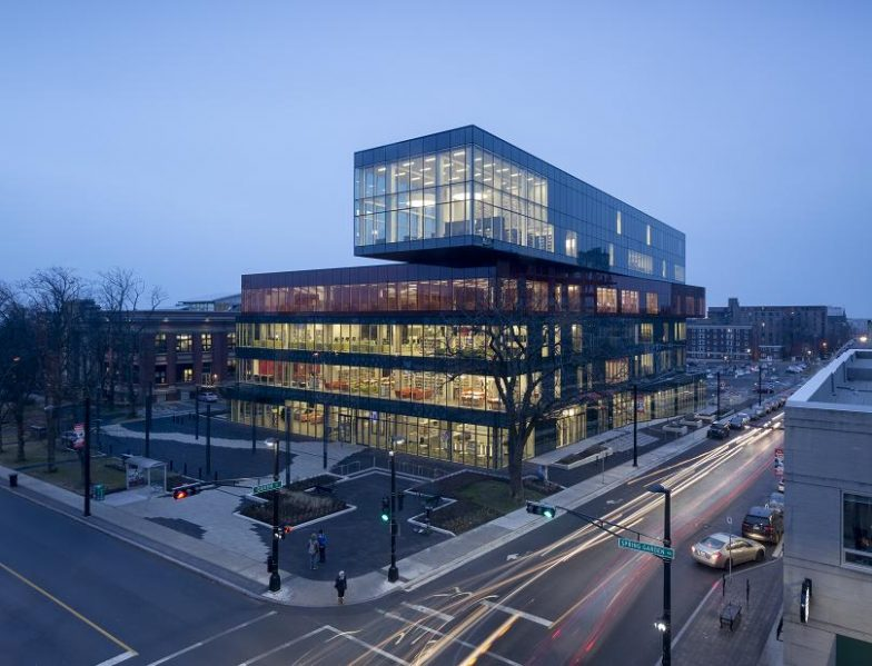 The Halifax Central Library, winner of a 2016 Governor General's Medal in Architecture. The library is composed of stacked boxes that recall a pile of books. Photo by Adam Mørk