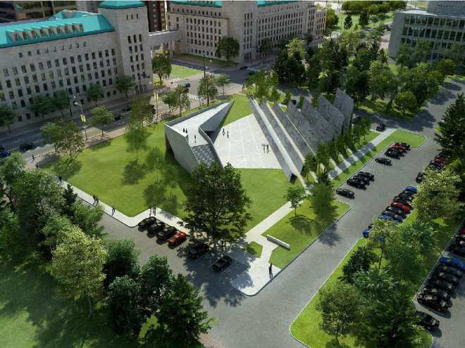 a rendering of the proposed national memorial to victims of communism