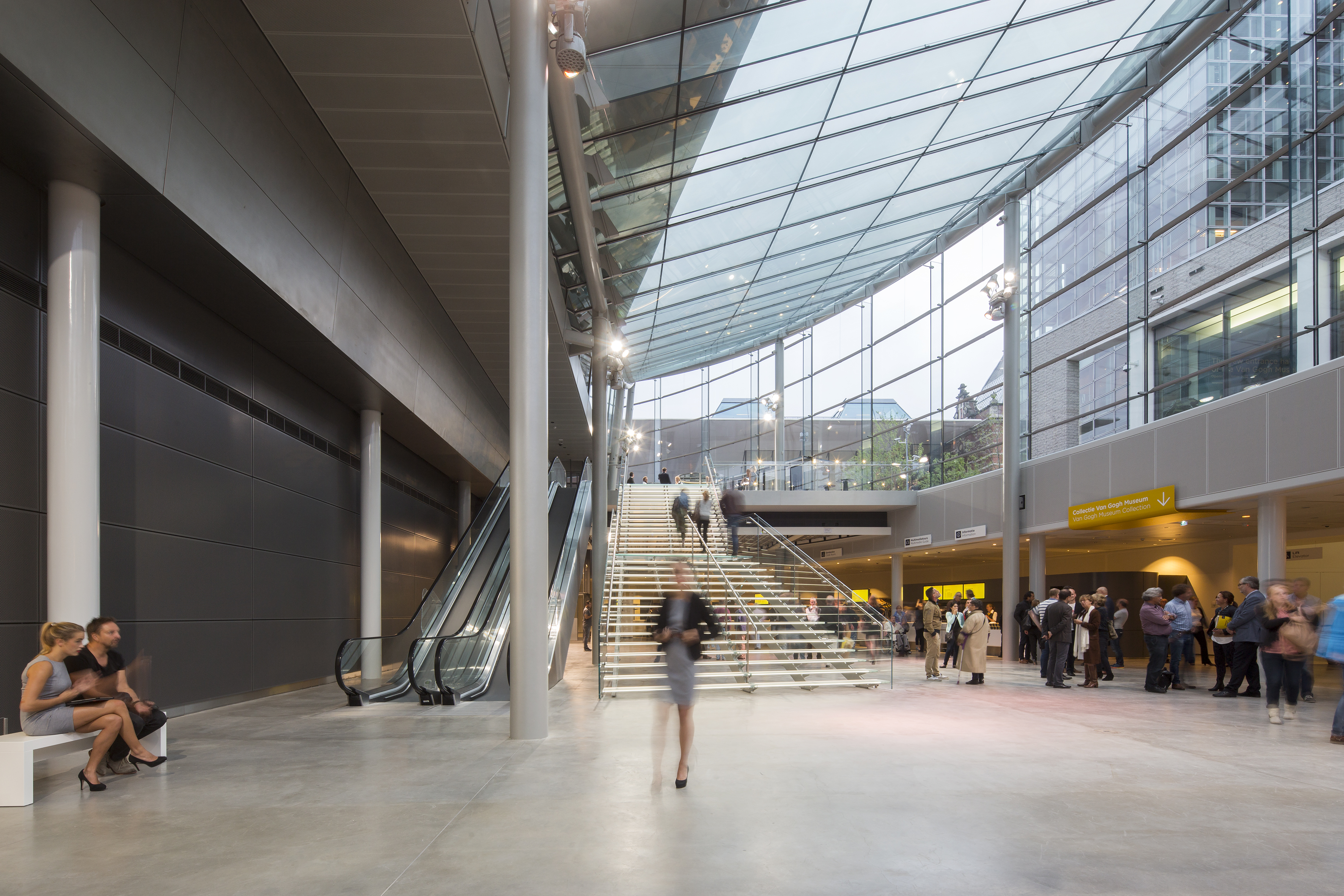 Amsterdam's expanded Van Gogh Museum includes a spacious atrium that links below-grade spaces to the existing museum.