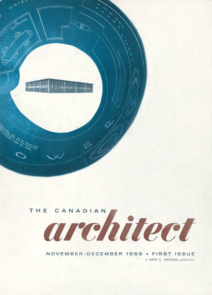 The cover of The Canadian Architect's first issue, showing the editorial offices of parent company Hugh C. MacLean Publications, designed by Weir & Cripps. Photo by Panda Associates