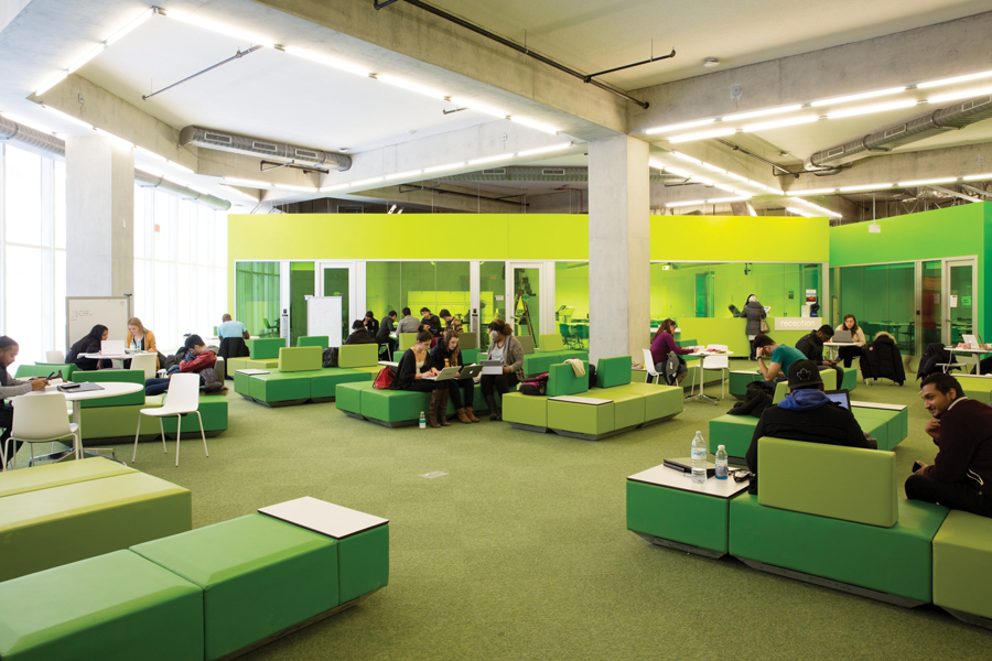 The fourth-floor learning support centre includes service counters as well as small offices for private tutoring