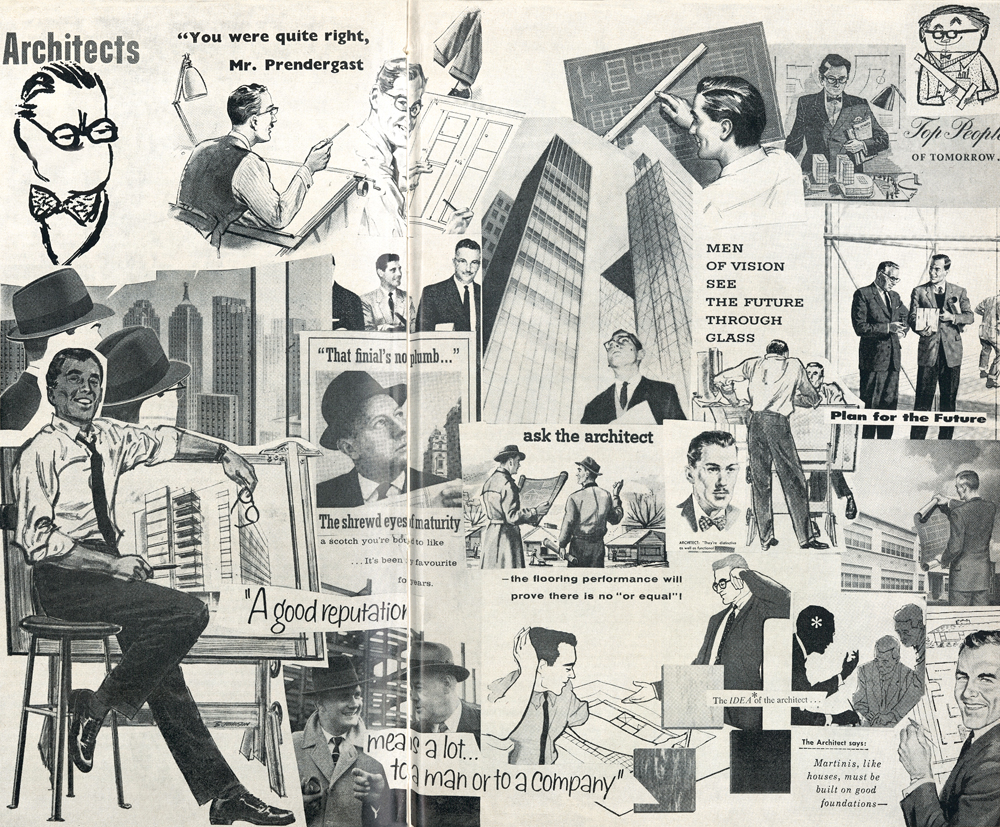 This collage depicting architects in American, Canadian and British advertisements was assembled to illustrate a 1958 article in The Canadian Architect.