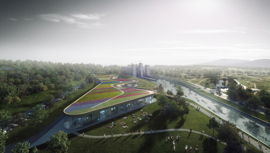 Heneghan Peng Architects' design is topped by a green roof which emerges from the adjacent landscape.