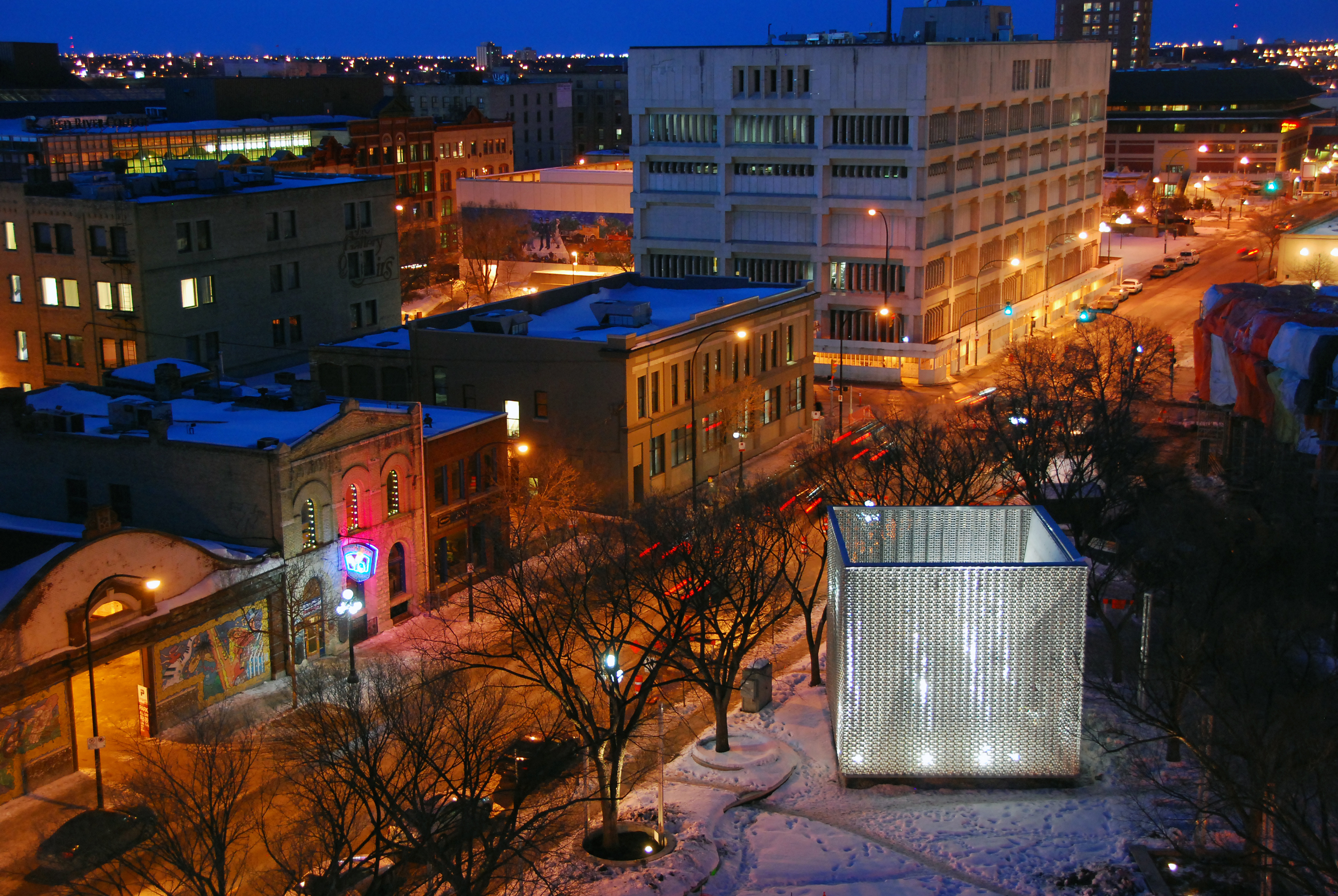 The OMS Stage in downtown Winnipeg doubles as an enigmatic art installation.
