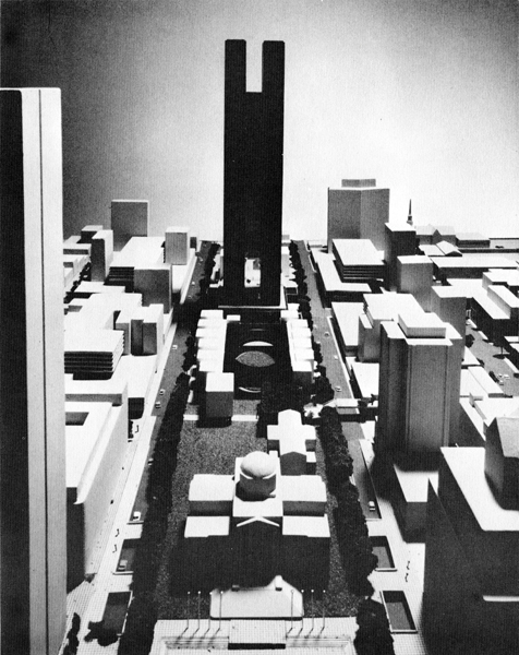 A view of Arthur Erickson's 1970s proposal for a tower extension to the Vancouver Art Gallery.