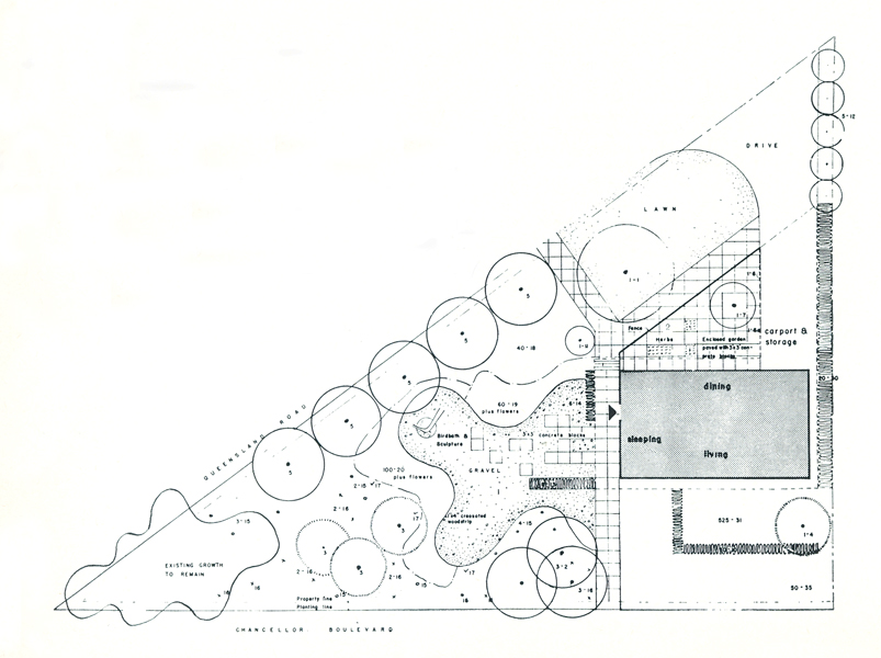 Landscape plan for the residence of Dr. and Mrs. Friedman, by Cornelia Hahn Oberlander.