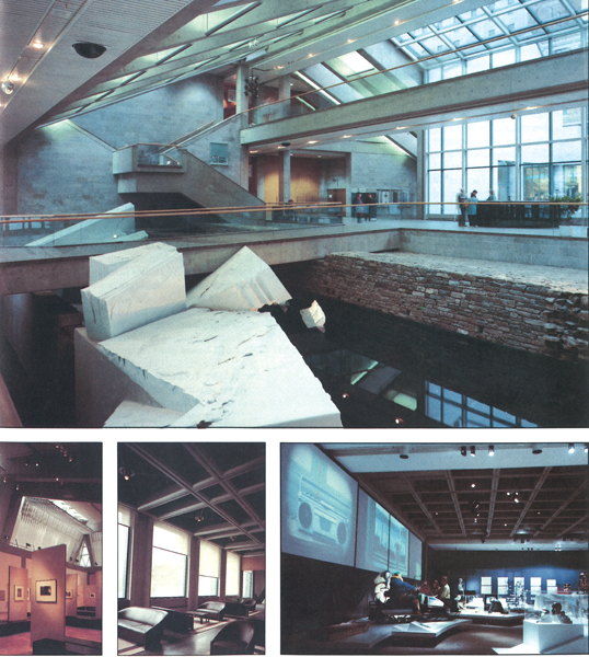 Archaeological remains from Quebec City's original shoreline feature prominently in the Musée de la civilisation's Grand Hall. The building, designed by Moshe Safdie FRAIC, includes a cascade of indoor and outdoor courtyards that knit the museum into its tight urban site.