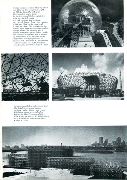 The United States and Dutch pavilions under construction, with Montreal's Place Victoria and Place Ville Marie visible in the background. Photos by Art James, reproduced from The Canadian Architect, October 1966.