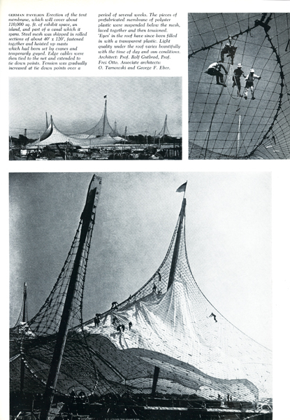Frei Otto and Rolf Gutbrod's German pavilion under construction. Photos by Art James, reproduced from The Canadian Architect, October 1966.