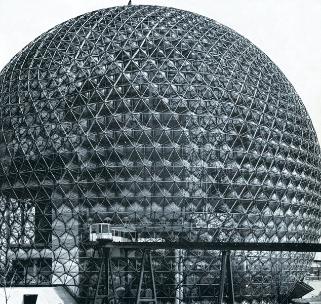Buckminister Fuller's geodesic dome was completed with Sadao Inc. and Geometrics Inc. Reproduced from The Canadian Architect, May 1967
