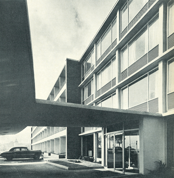 The Seaway Hotel was noted for its expressive concrete frame and swooping entrance canopy. Photo by Panda Associates. Reprinted from The Canadian Architect, November/December 1955