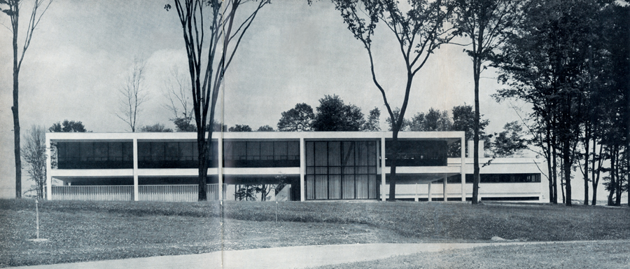 "The factory and office building for Ortho Pharmaceutical—a Modernist ""glass box on stilts""—was one of several designs by John B. Parkin Associates featured in the magazine's initial year of publication. Bruce Wright, reprinted from The Canadian Architect, July 1956."