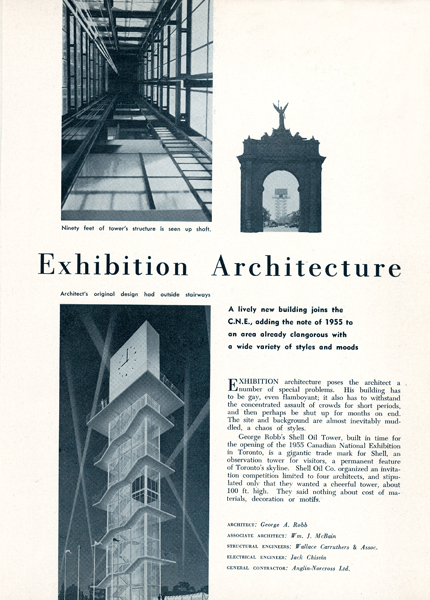 George Robb's futuristic Shell Oil Tower for the Canadian National Exhibition grounds in Toronto was featured in the magazine's inaugural issue. Drawing by George Robb, photos by Panda Associates. Reprinted from The Canadian Architect, November/December 1955