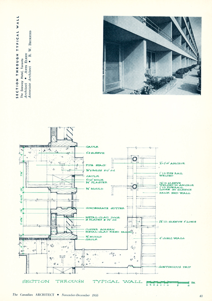 "The magazine devoted its first ""comprehensive presentation"" to the Seaway Hotel, a commercial building by Ants Elken. Photo by Panda Associates. Reprinted from The Canadian Architect, November/December 1955"