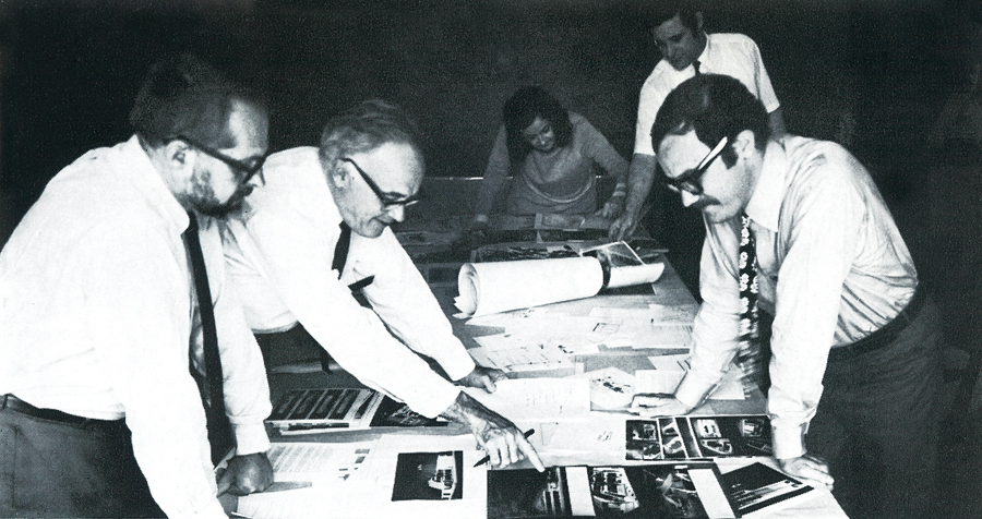 The jury for the 1969 Canadian Architect Awards of Excellence, from left to right: Victor Prus of Montreal, founding editor James Murray, associate editor Patricia Gillespie, managing editor Robert Gretton and Jerome Markson of Toronto. Reprinted from The Canadian Architect Yearbook, 1969.