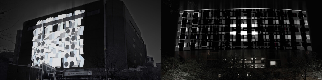 Two images from the accompanying video projections