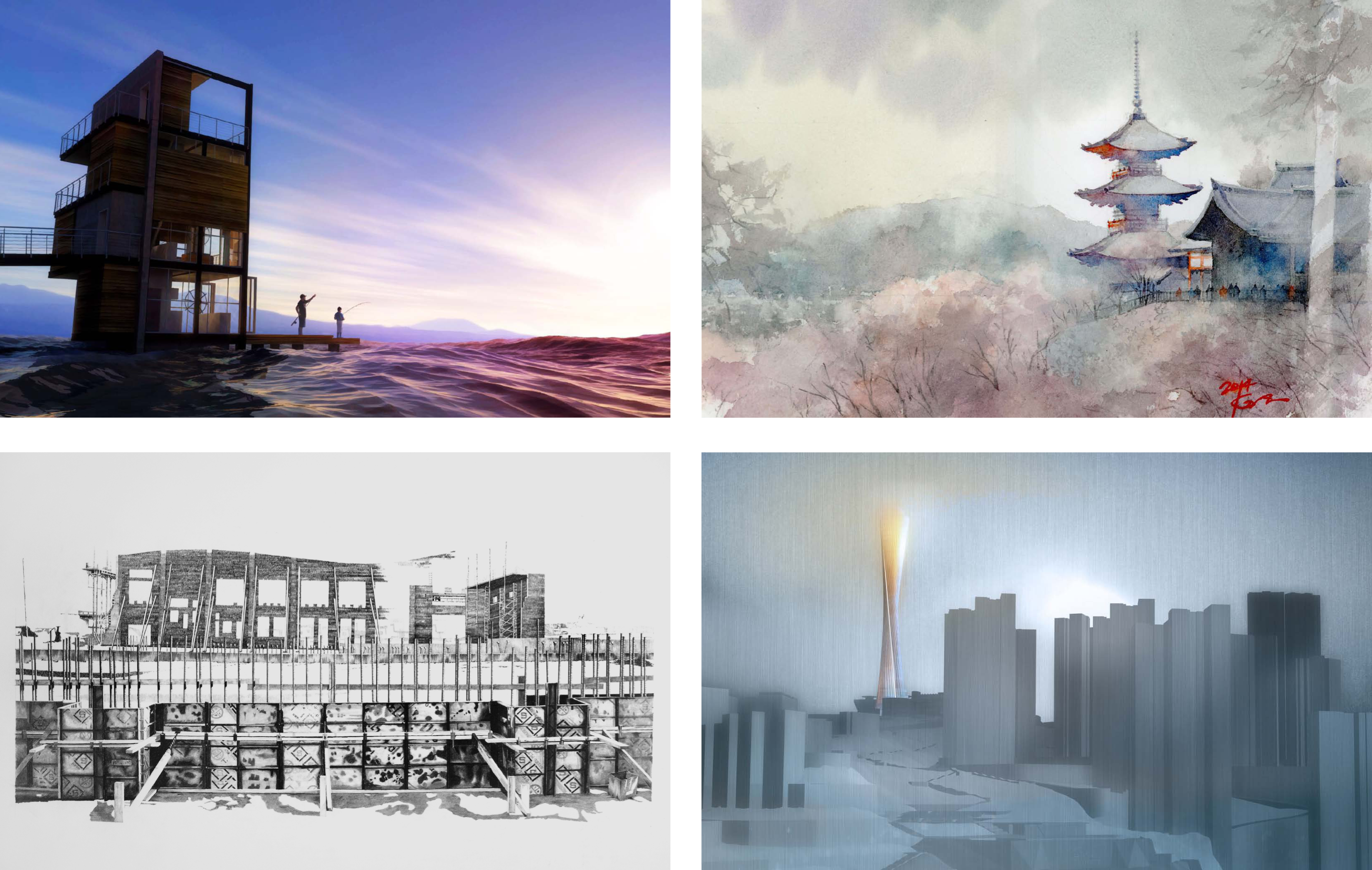 A selection of other images: (top left) 'Ocean Cottage' – Steve Thorington (Juror's Award – Richard Johnson), (top right) 'The Temple Kiyomizu 2/Kyoto' – Kazuo Hasegawa, (bottom left) 'Olathe Community Center/Olathe, KS' – Gary Schuberth (Observational – Best In Show), (bottom right) 'Tower Concept/Guiyang, China' – Anthony Chieh (Juror's Award – Thomas Payne). For a complete online gallery see: https://www.flickr.com/photos/asaihq/albums/72157650546725799