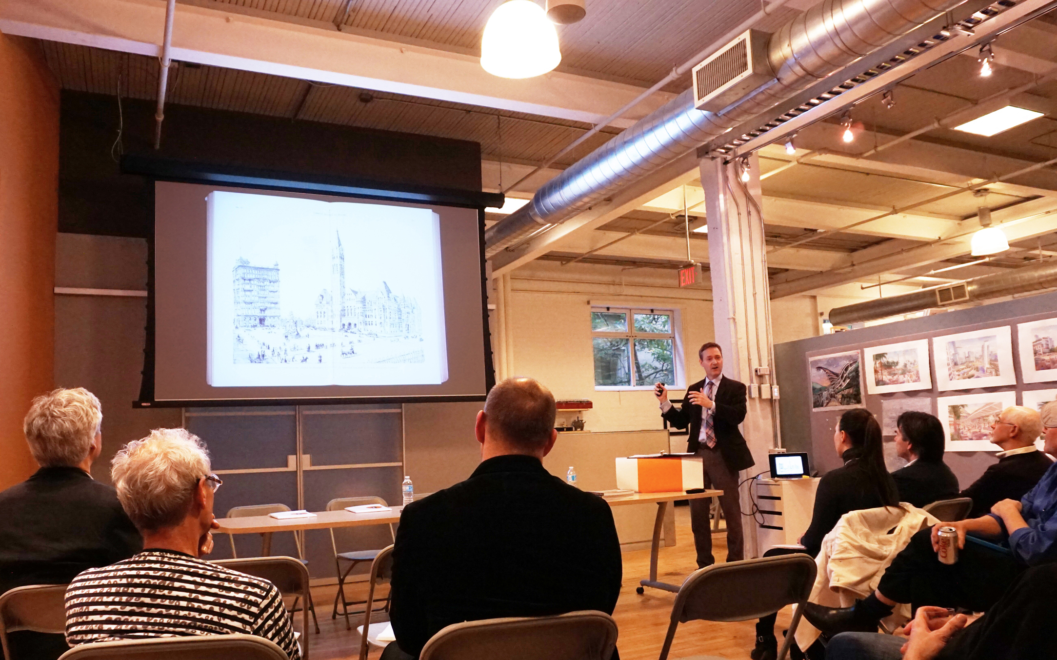 A lively and engaging panel discussion was held at Forrec on Thursday evening, hosted by long term ASAI member Gordon Grice. The program began with a presentation by Unbuilt Toronto author Mark Osbaldeston. His talk focused on the 1957 Toronto City hall competition, while touching on other unbuilt projects, such as Vimy Circle, that still live on in the popular imagination. Osbaldeston's work reminds us just how much the image contributes to the persistent allure of the could-have-been (or perhaps in some cases the should-have-been).