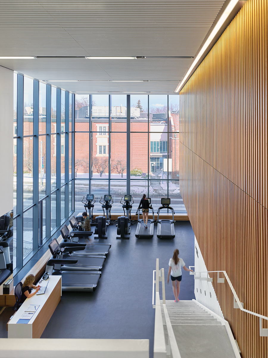 The fitness centre looks out to the campus and city beyond.