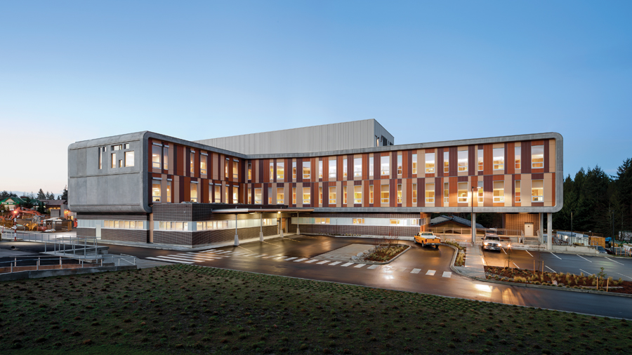 Modelled after a First Nations bentwood box, the Sechelt Hospital engaged its local community through an extensive consultative process in the design phase. The extension includes emergency facilities on the ground floor, topped by two wings of single-patient rooms.