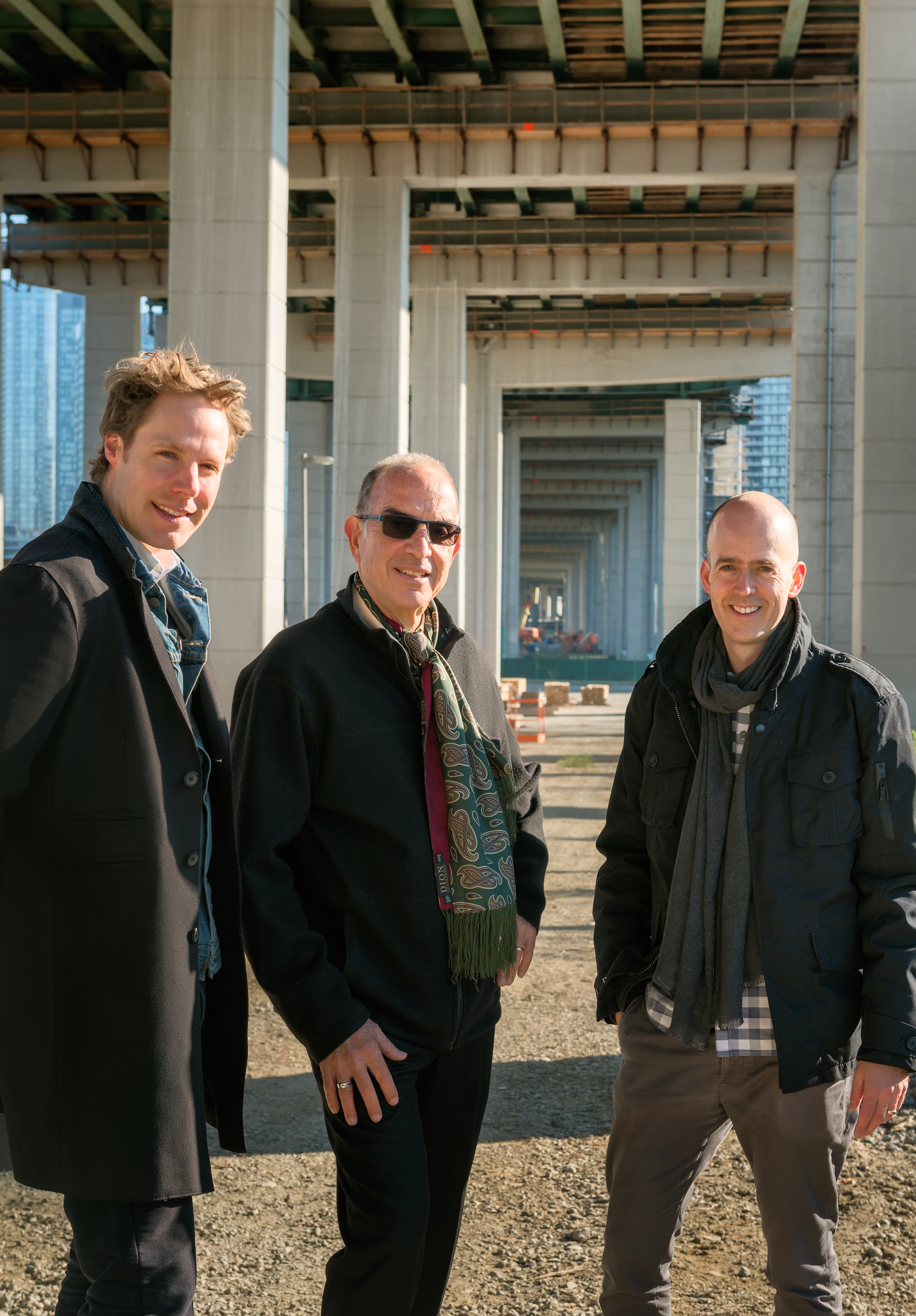 The design team, lead by urban designer Ken Greenberg (centre), and Marc Ryan (left) and Adam Nicklin (right) of landscape architecture studio, PUBLIC WORK Photo by Bob Gundu