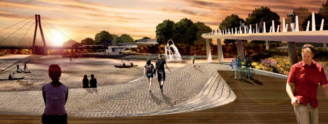 The proposal includes a bridge that activates a central park area in London, Ontario.