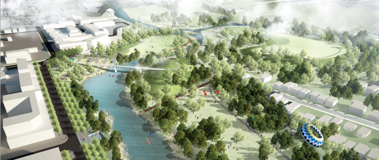 Working with natural processes, the proposal reconnects an old oxbow to the main river.