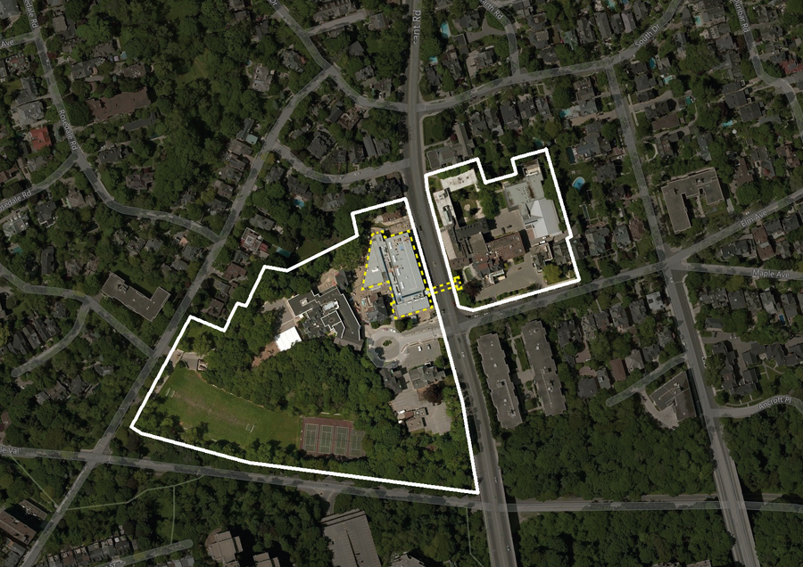 Site plan, showing Branksome Hall Campus and the Athletics and Wellness Centre's site