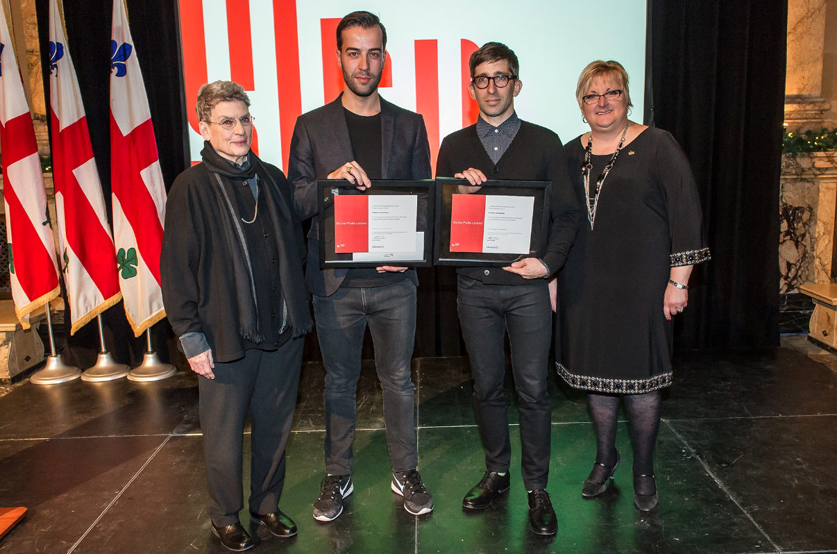 Ms Phyllis Lambert, Canadian Centre for Architecture (CCA), Mr.Yves de Fontenay, architect, studio Pelletier de Fontenay, 2015 Phyllis Lambert Grant winner, Mr. Hubert Pelletier, architect, studio Pelletier de Fontenay, 2015 Phyllis Lambert Grant winner; Ms. Chantal Rossi, Ville de Montréal. (Photo: Denis Labine)