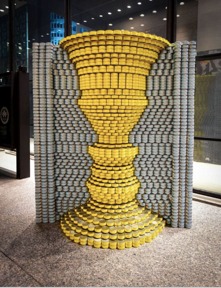 Hunger Is No Illusion won the 2015 Canstruction award for Structural Ingenuity. It was designed and built by Turner Fleischer Architects Inc. (Photo: David Crowder Photography)