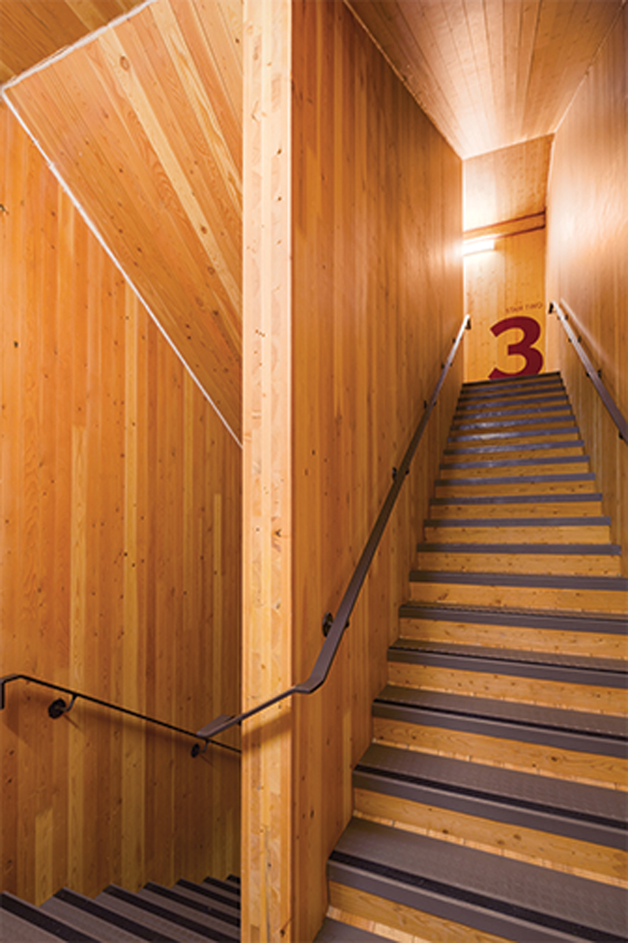 The stair core walls are built from CLT panels, contributing to the lateral load resistance of the structure.
