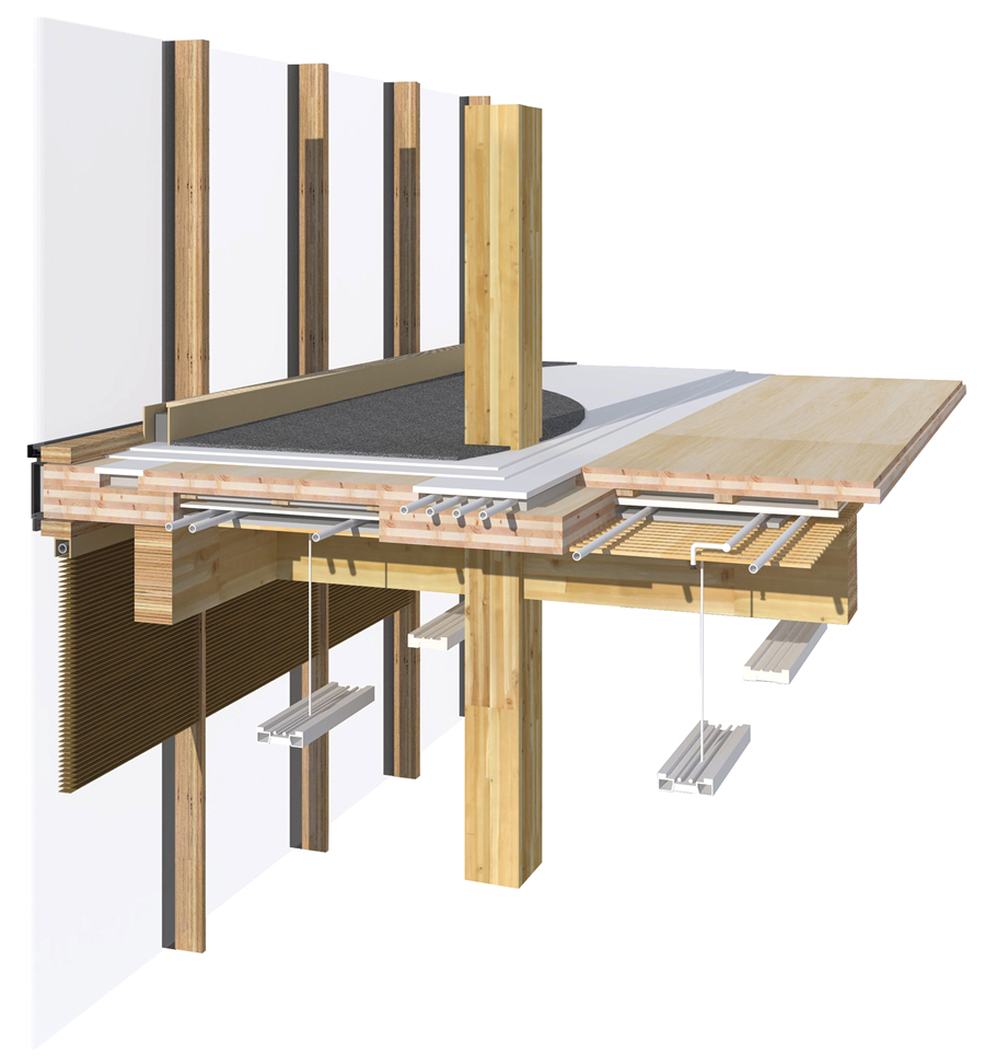 WIDC's primary structure is an innovative combination of post and beam construction with built-up cross-laminated timber (CLT) floor panels. Glulam beams frame into glulam columns using proprietary aluminium dovetail Pitzl connectors. This allows columns to run continuously from the foundation to the roof, eliminating all cross-grain bearing and shrinkage. Steel connectors are embedded and concealed within the timber elements, which provide the required fire resistance rating. The entire building core, including elevator shaft and exit stairs, is constructed of CLT. The floor assembly is a staggered panel system consisting of overlapping 3-ply upper CLT panels on 5-ply or 7-ply lower CLT panels, joined with HSK epoxy and metal mesh connectors to form a fully composite corrugated structural section. Spanning six metres between the post and beam frames, this wood-only floor system was selected to minimize the use of concrete (and thus weight). The corrugated CLT floor system provides significant acoustic separation while allowing services to be run in the alternating floor and ceiling chases, while the beauty of the wood structure remains exposed.
