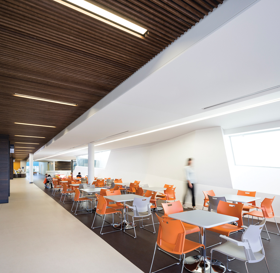 Hallways in the centre are wide enough to accommodate seating for dining, socializing and other activities.