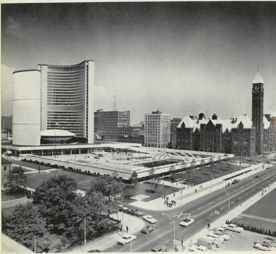 A view of City Hall and Civic Square shortly after opening day. (Arthur James)
