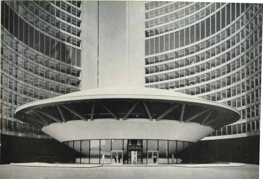 In Revell's elegant design, a reinforced concrete dome houses the Council Chamber and is framed by two curved office towers. (Arthur James)