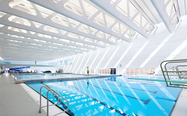 Guildford Aquatic Centre, in Surrey, British Columbia, by Bing Thom Architects, Shape Architecture (Associate Architect)