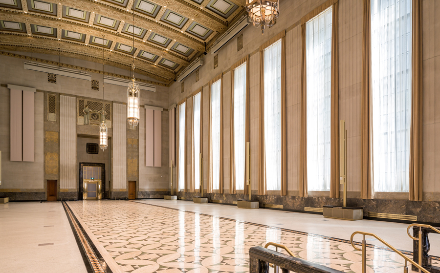 The former banking hall has been completely restored while incorporating new HVAC, lighting, audio-visual systems and other infrastructure allowing it to be used as a conference and reception venue.