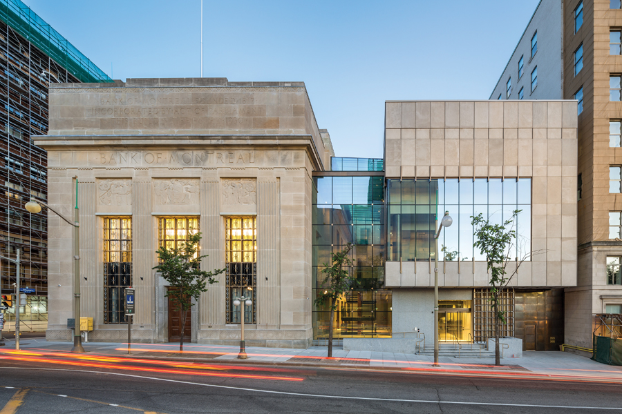 A contemporary annex to the renovated former Bank of Montreal is a sophisticated addition to the Confederation Boulevard streetscape.