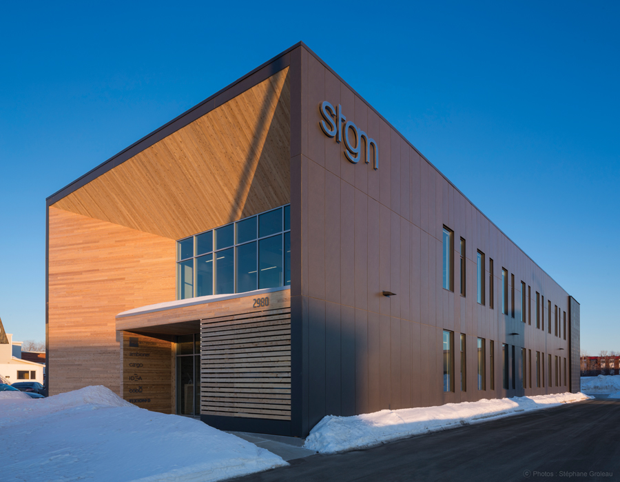 Located adjacent a Quebec City eco-district, the head office of STGM Architects embraces sustainability in its siting, construction and furnishing.