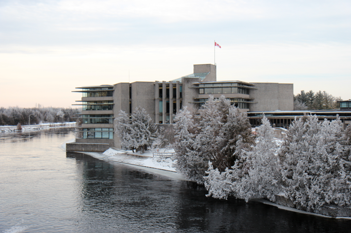 A winter view of Bata Library at Trent University, originally designed by Ron Thom. Photo courtesy Trent University.