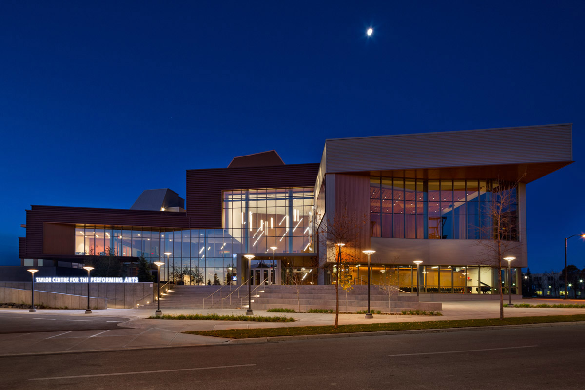 Exterior of the Taylor Centre at night. Photo by Ema Peter.