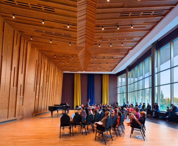 A multi-purpose hall uses a similar wood cladding to the main concert hall. Photo by Ema Peter.