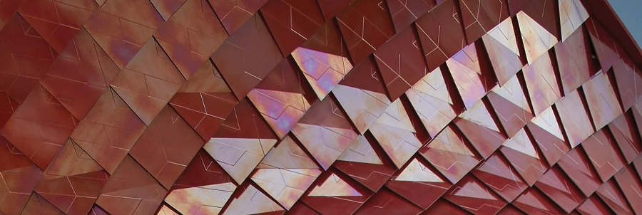 Daniel Libeskind's installation at the Milan Expo used iridescent tiles from Casalgrande Padana.
