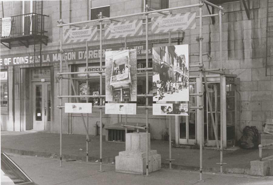 The Corridart installations on Sherbrooke Street layered historical and wayfinding information. Image: Concordia University archives © Estate of Melvin Charney / SODRAC