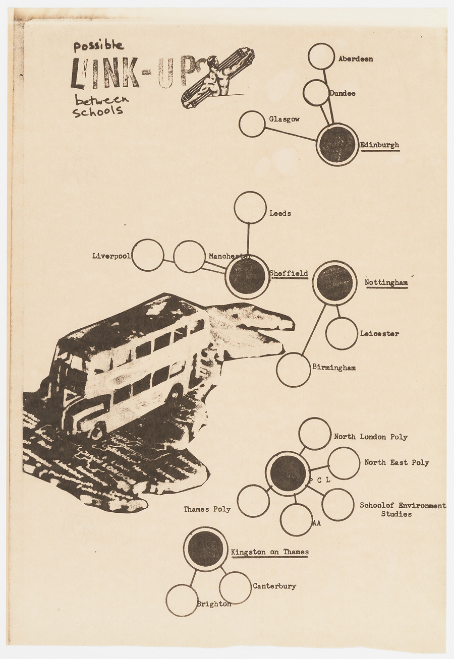 A proposed bus tour circuit connecting architecture schools from England and Scotland in 1973. Image: AD/AA/Polyark; Cedric Price Fonds, CCA © Peter Murray