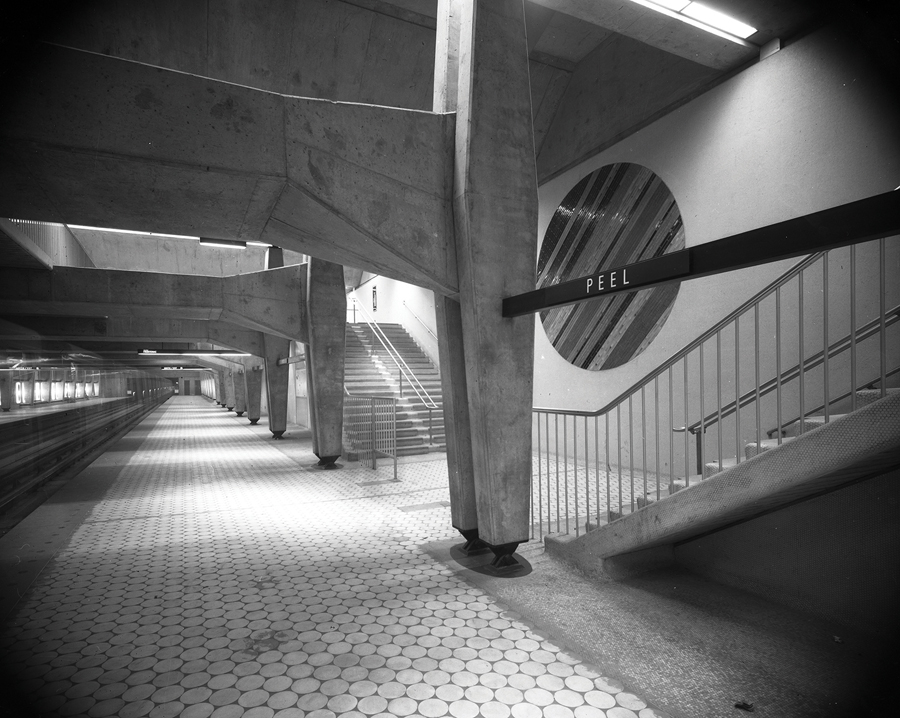 Interior of Peel subway station just before opening in 1966. (Courtesy of Archives de Montréal)