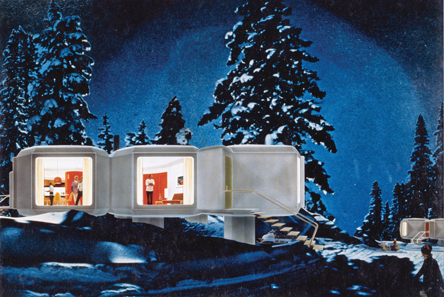 Rendering of prototype modular plastic houses for Northern Canada (Courtesy of CCA, Montréal)