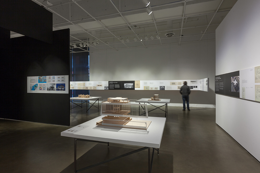 Views of the wood study models created for the exhibition by UQAM students. (Photo: Michel Brunelle)